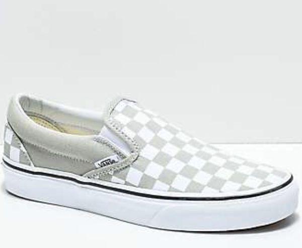 4942f7dc12 gray and white checkered vans