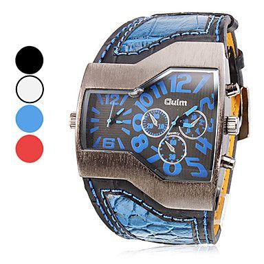 PU analógico Multi-Movimento de quartzo relógio de pulso dos homens (dois fuso horário, cores sortidas) – BRL R$ 40,17