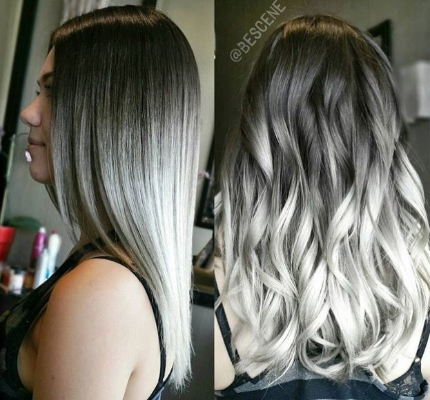 Black to grey to white ombré hair!