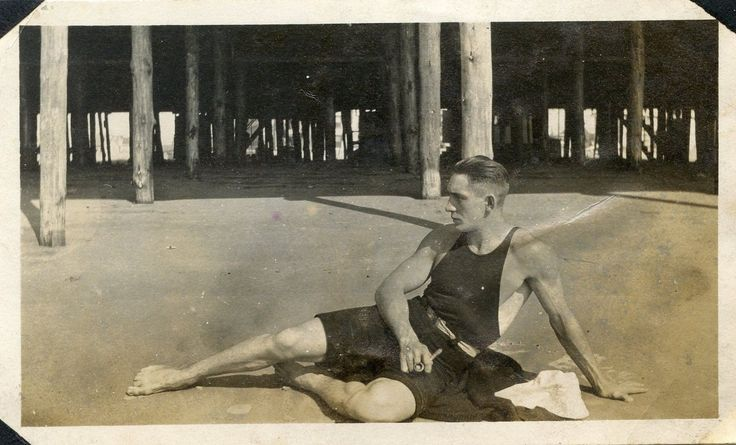 have been collecting antique photos of men on the beach