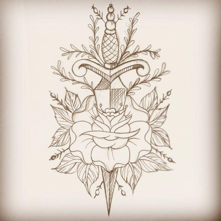 Old school dagger and rose, tattoo flash   Lhptattoo  Www.facebook.com/lhptattoo