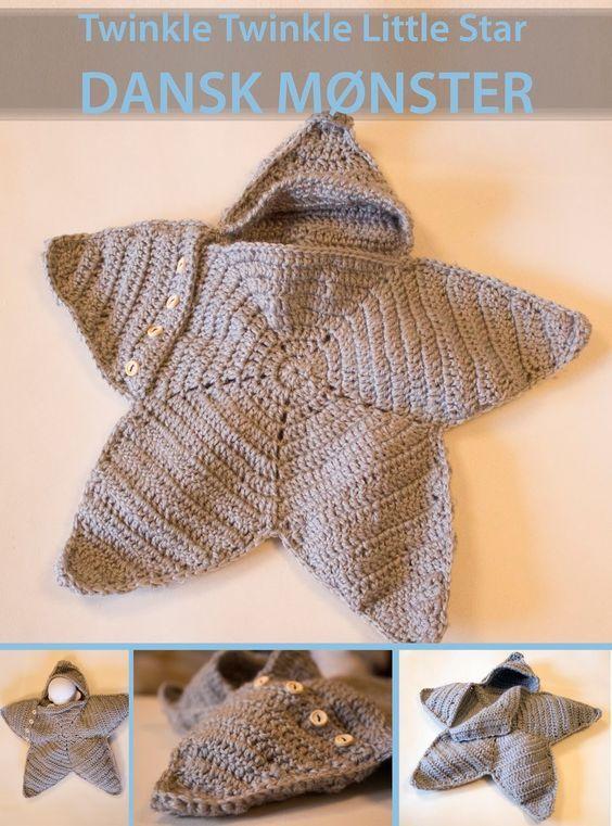 """Moster Johanne: NU PÅ DANSK: twinkle twinkle little star crochet   mønster på """"lille stjerne"""""""