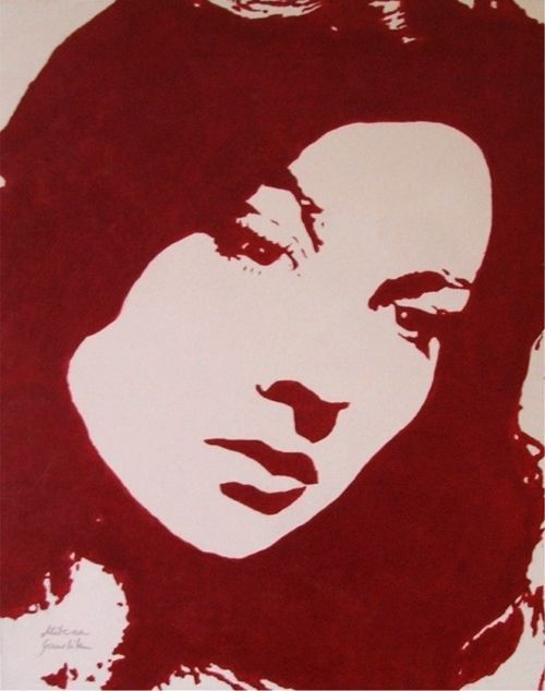 WOMAN PORTRAIT POP ART ACRYLIC PAINTING CANVAS RED MID CENTURY VINTAGE V. LEIGH #PopArt