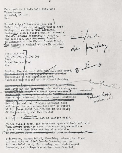 T. S. Eliot's manuscript of The Waste Land.