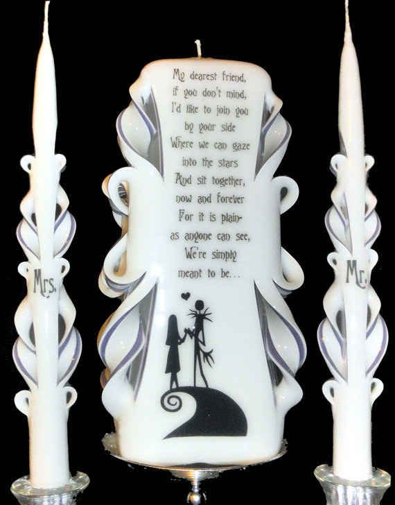 24 completely bewitching tim burton inspired wedding ideas wedding unity candlescandle