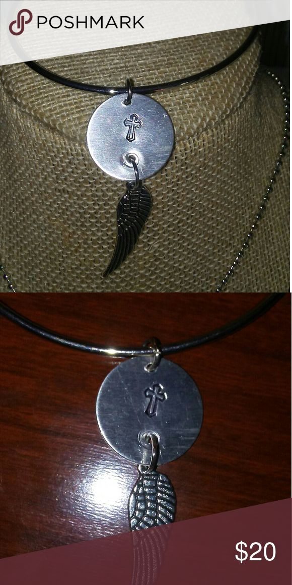 100% proceeds go to Texas hurricane relief Stamped bracelet aluminum with pewter wing, Jewelry Bracelets