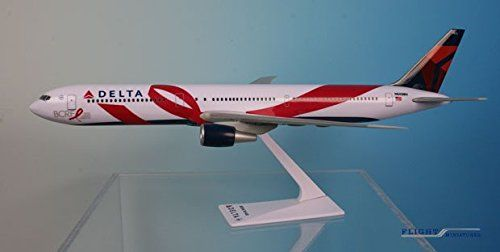 Delta Boeing BCRF 767-400ER Airplane Miniature Model Snap Fit 1:200 Part# ABO-76740H-007:   Flight Miniatures 1:200 Scale Plastic Snap - Fit - Delta • Boeing BCRF 767 - 400ER -13.75'' in length - 13'' in wingspan. On October 1, 2015, Delta Air Lines honored more than 140 employee breast cancer survivors for the 11th annual survivor flight aboard their newly painted aircraft adorned with the symbolic pink ribbon. This model, registration number N845MH, celebrates the special partnership...