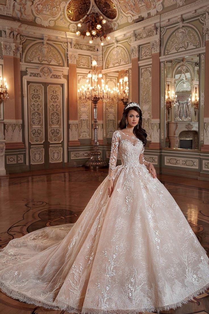 2019 vestidos de boda del vestido de bola de Tulle de la cucharada con el tren de la corte de los apliques y de las gotas US$ 469.00 VTOPH1KS855