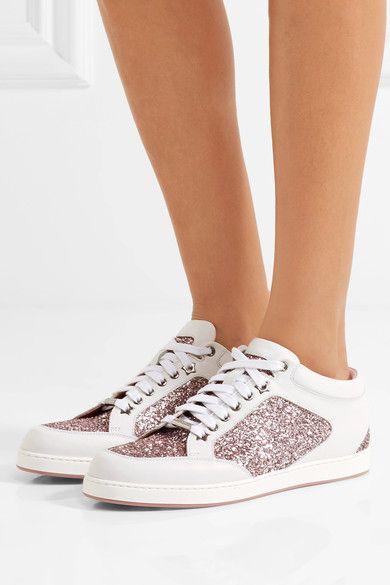 Jimmy Choo - Miami Glitter-paneled Leather Sneakers - White - IT38.5