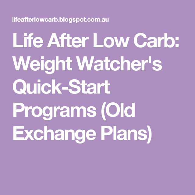 Life After Low Carb: Weight Watcher's Quick-Start Programs (Old Exchange Plans)