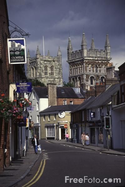 East Street and the 1300 year old Wimborne Minster , Dorset, UK