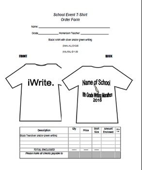 Easy to edit order form for all your school t-shirt orders.
