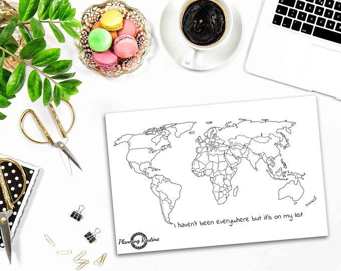 Wereldkaart Sticker, wereldkaart, kaart van de wereld, wereld Planner Stickers, reizen Stickers, kogel Journal Stickers