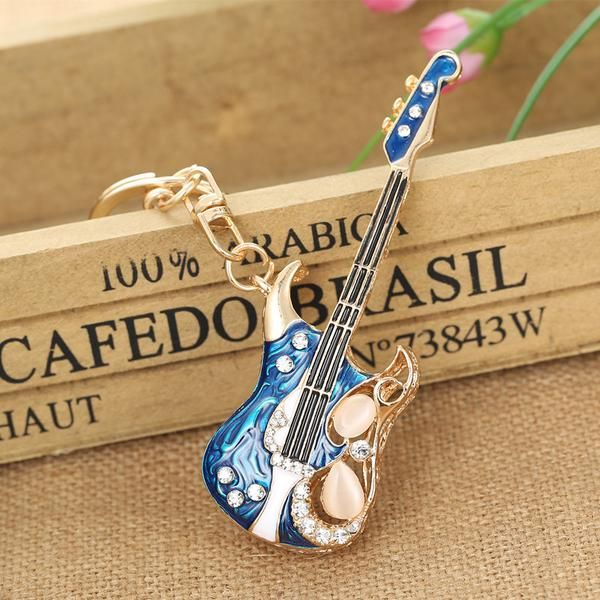 Gift Key Ring Guitar Keychain Musical Instrument Guitar Key Chain Hanging Drop