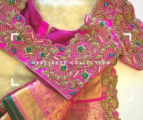 One of the must have combination Kanchipuram Saree! Needle eye clients don t go wrong in choosing the right designer. Beautiful pink color designer bridal blouse with  thread work. 08 June 2017