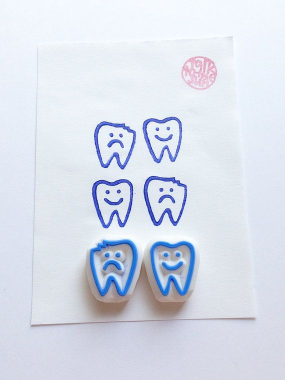 Tooth hand carved rubber stamps. good tooth and bad tooth stamp. tooth fairy…