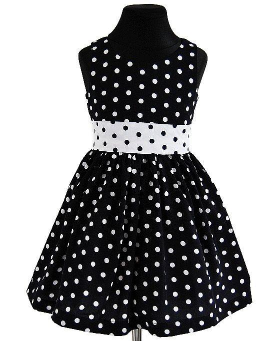 SUKIENKA BIAŁO-CZARNA W GROCHY, MARAND COLLECTION - Buy4Kids - sukienki dla dziewczynek