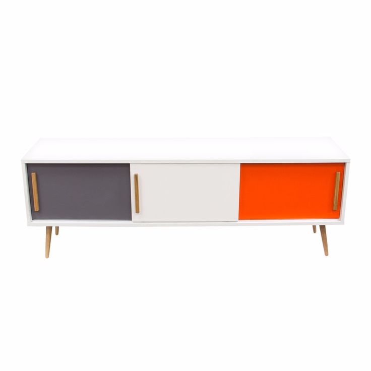 Tangent Tri-Color 3-Door Entertainment Cabinet with Oak Legs by Diamond Sofa