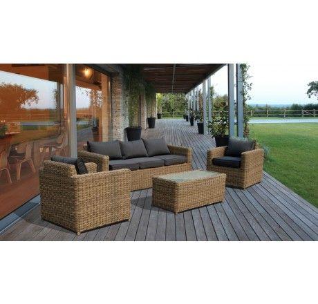 Set divano da giardino in rattan sintetico andresa for Sofa exterior rattan sintetico