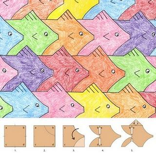 "THE perfect lesson for the kid who sits in art class everyday and says ""can I just do math?"" Tessellations - look at Escher - VERY IMPORTANT TO SUPERVISE EACH STEP EASY FOR STUDENTS TO STUFF UP! yr 8"