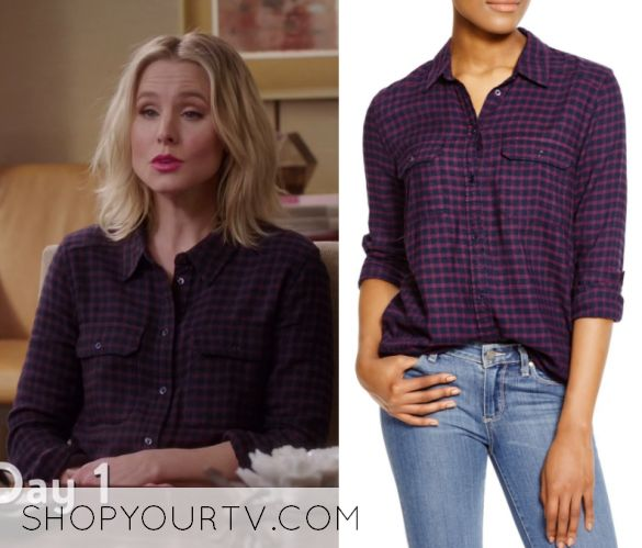 """Eleanor Shellstrop (Kristen Bell) wears this purple and black pocket from checked shirt in this episode of The Good Place, """"Dance Dance Resolution"""". It is the Paige Trudy Plaid Shirt."""