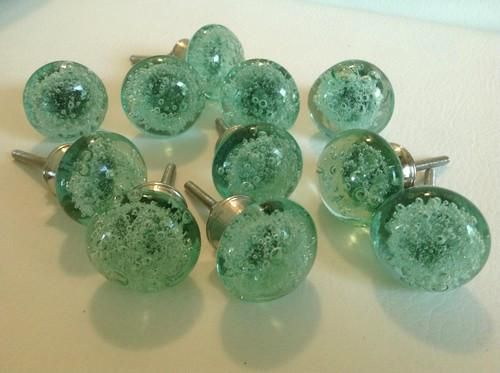 Works well with coastal, city chic and contemporary decors. Lot of 10 mint green sea glass bubble cabinet knobs, dresser drawer pulls. Easy to install, seconds
