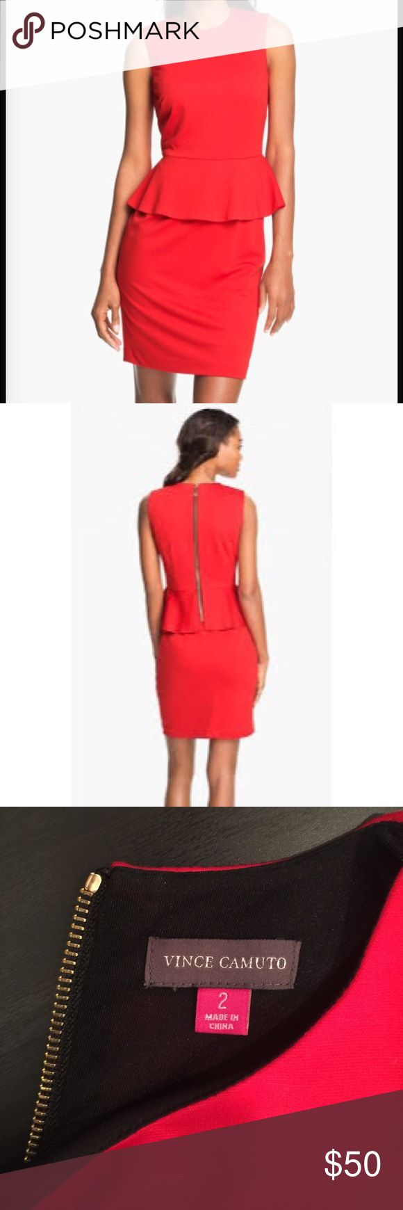 Vince Camuto Red Peplum Dress, Size 2 Vince Camuto Red Peplum Dress, Size 2 (Small), Perfect condition Vince Camuto Dresses Midi