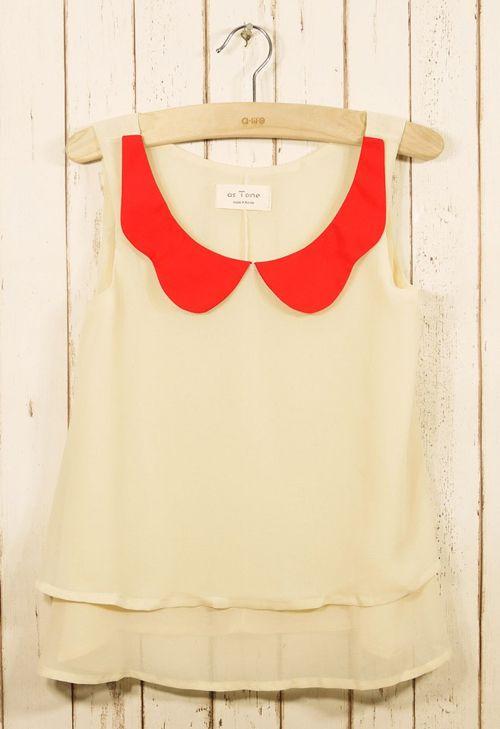 peter pan collar sleeveless blouse