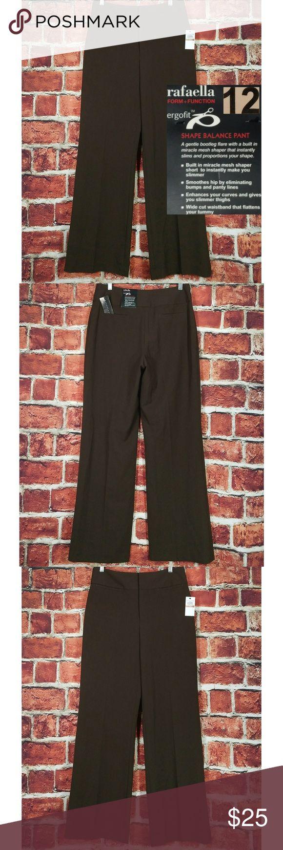 Rafella NWT Sz 12 x 32 Rafaella Women Pants Flat Dress Boot Cut Size 12 Inseam 32 Brown Trousers Slacks  Condition: Brand New Photos are best description  Size: 12 Waist: 32 Front Rise: 11.5 Back Rise: 16 Hips: 41 Inseam: 32.5 Leg Opening: 11 Rafaella Pants Trousers
