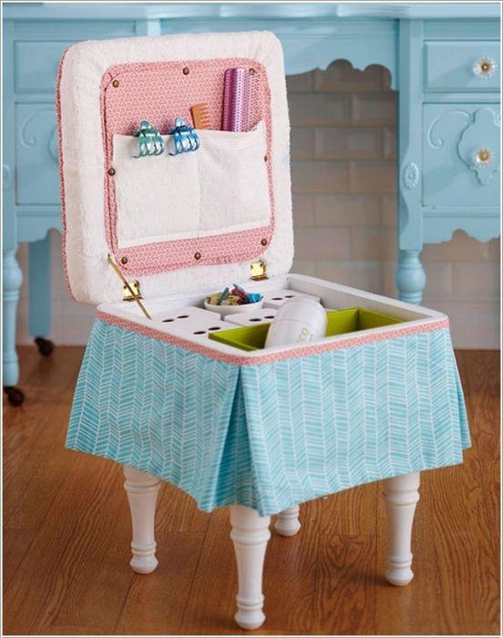 Прикрепите коробку к ножкам от стула и получите замечательный комод для хранения вещей.