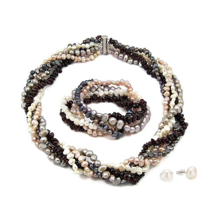Set Orchira Dans Alb de Perle și Granate (cercei,colier, brățară)