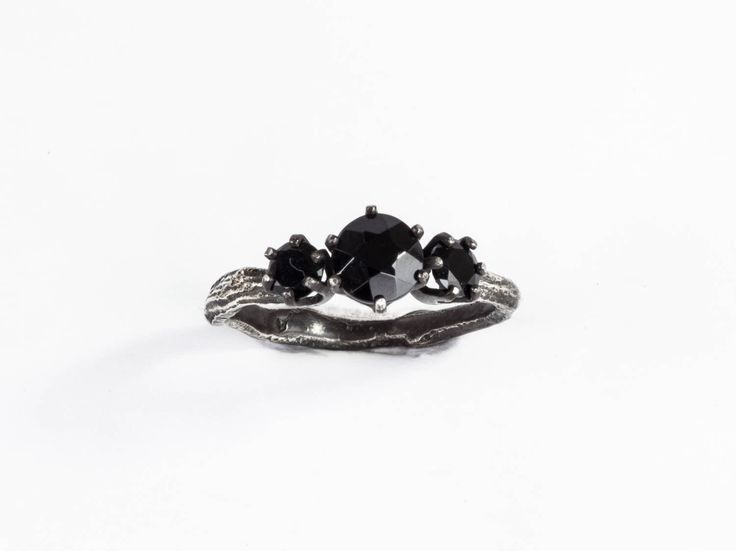 Black spinel three stone twig ring, twig engagement ring, gothic engagement ring by Oore on Etsy https://www.etsy.com/listing/251375002/black-spinel-three-stone-twig-ring-twig