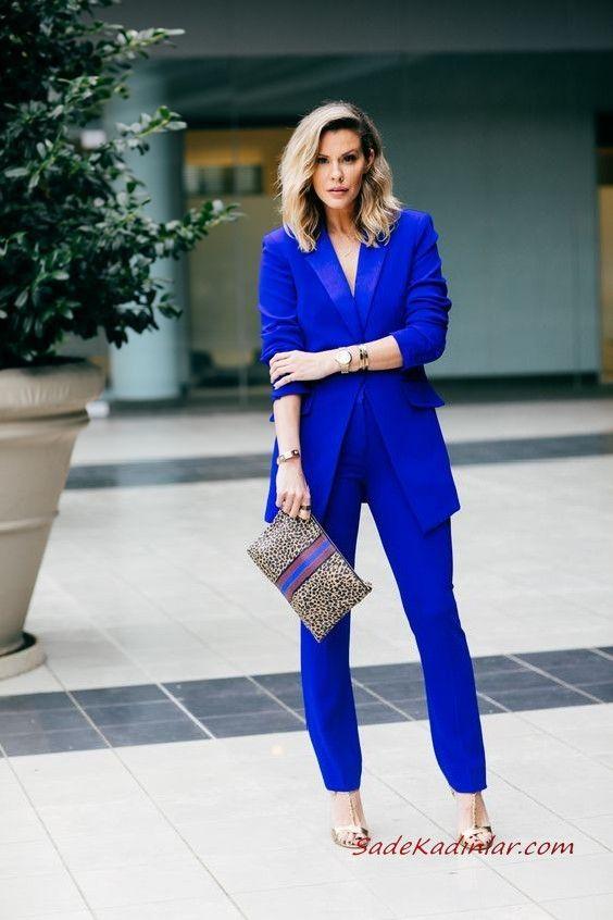 502a571430837 Bayan Takım Elbise Kombinleri Saks Mavi Pantolon Uzun Ceket Gold Stiletto Ayakkabı  Leopar Desenli El Çantası #moda #fashion #fashionblogger #damenmode ...