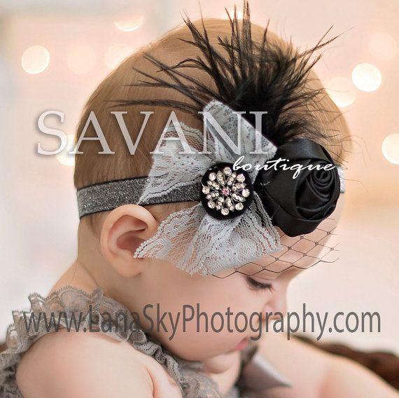 Glitter gray Baby headband vintage headband by SAVANIboutique