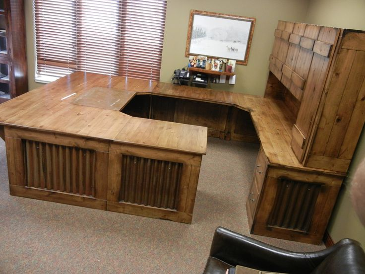 Rustic Office Desk With Hutch Reclaimed Wood Look Aged