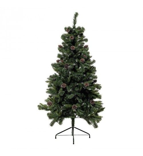 PVC TREE IN GREEN_FLOCKED COLOR W_PINE CONES (536 tips) H-180
