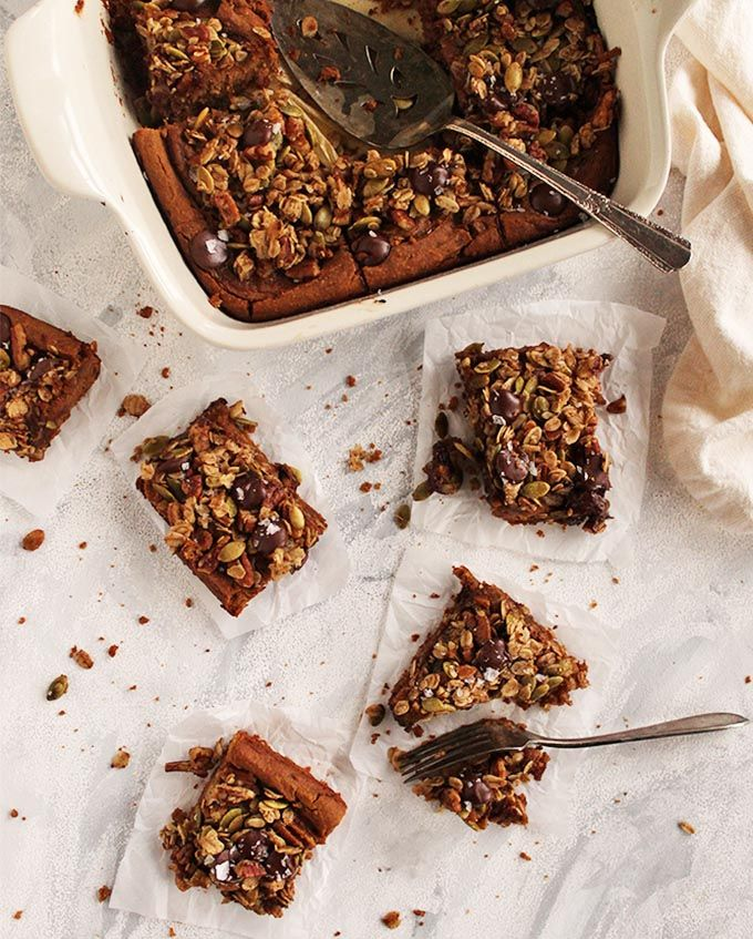 Chickpea Pumpkin Blondies with Crumble Topping  Vegan   Gluten Free Chickpea pumpkin blondies are fudge-y studded with chocolate chips and all the warming spices.They are topped with an oat crumble for a little crunch.