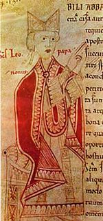 Pope Saint Leo IX, born Bruno of Eguisheim-Dagsburg, was Pope from 12 February 1049 to his death. He was a German aristocrat and a powerful secular ruler of central Italy while holding the papacy.  Leo IX is widely considered the most historically significant German Pope of the Middle Ages. His citing of the Donation of Constantine in a letter to the Patriarch of Constantinople brought about the Great Schism between the Catholic and Orthodox churches.