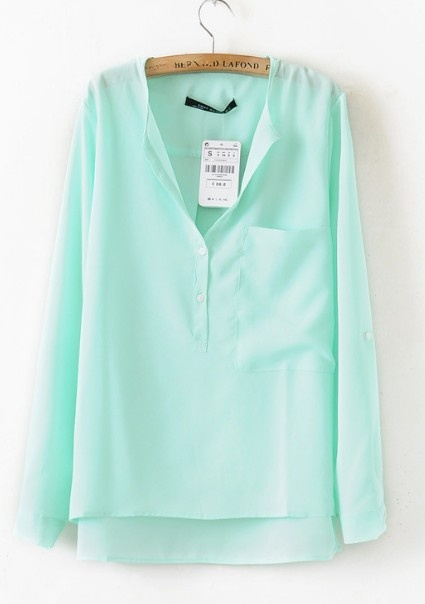 Cheap and cute website! LOVE this top!: Mint Green, Front Pockets, Clothing Website, Long Sleeve Blouses, Hemmings Long, Online Shops, Dips Hemmings, Cute Clothing, Mint Blouses