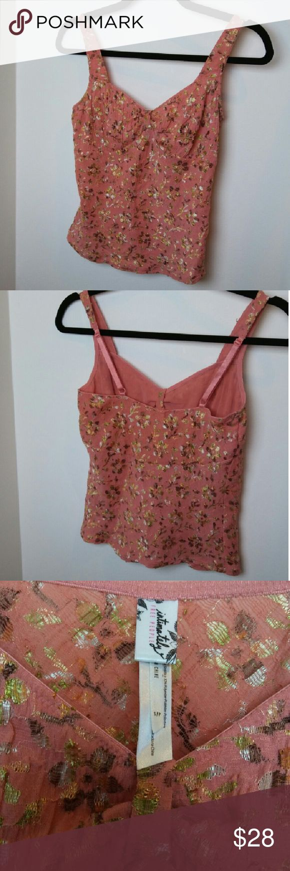 Free People Intimately sz. S floral cami Coral pink lace with gold foil floral overlay.  Perfect under layer for spring. 65% nylon, 30% polyester, 5% spandex. Made in China. Free People Tops Camisoles