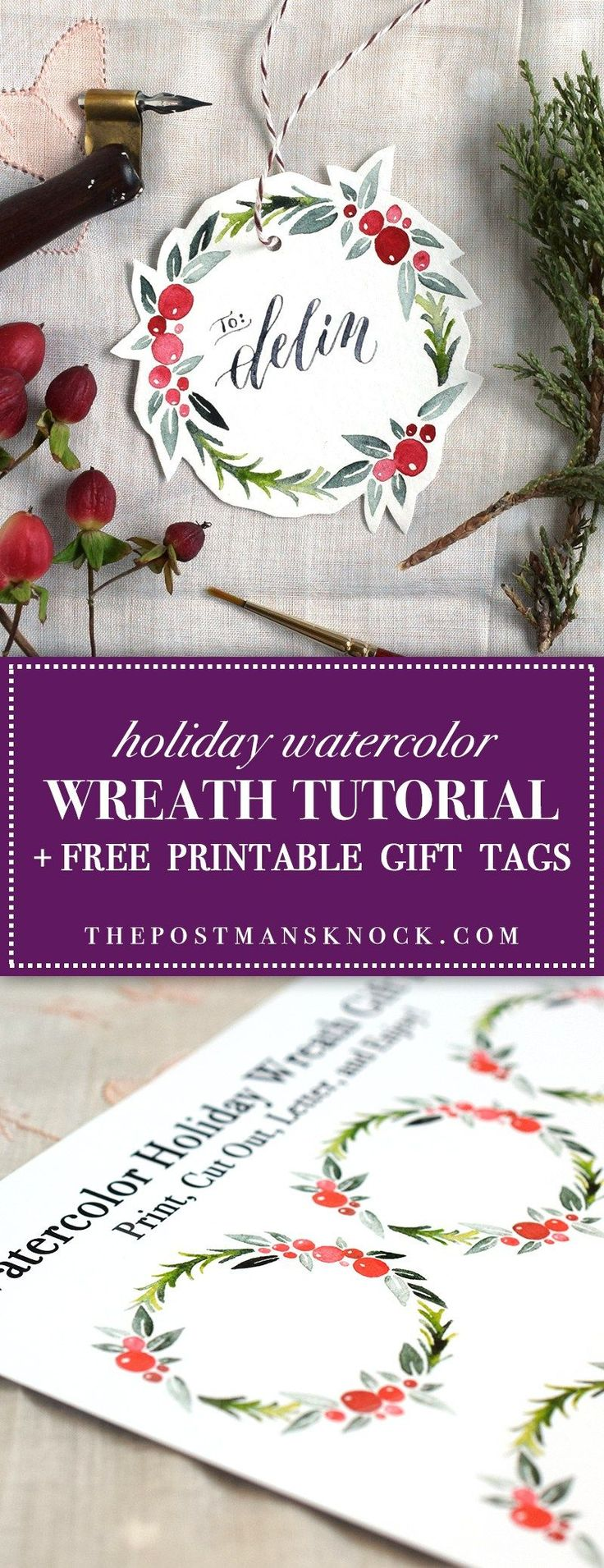 Watercolor Holiday Wreath Tutorial + Free Printable | The Postman's Knock TPK (HL, wc2)