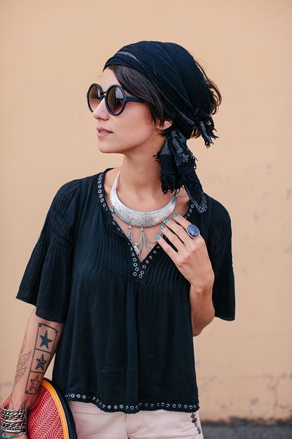 Head scarf and the peasant blouse ~ Navy and silver