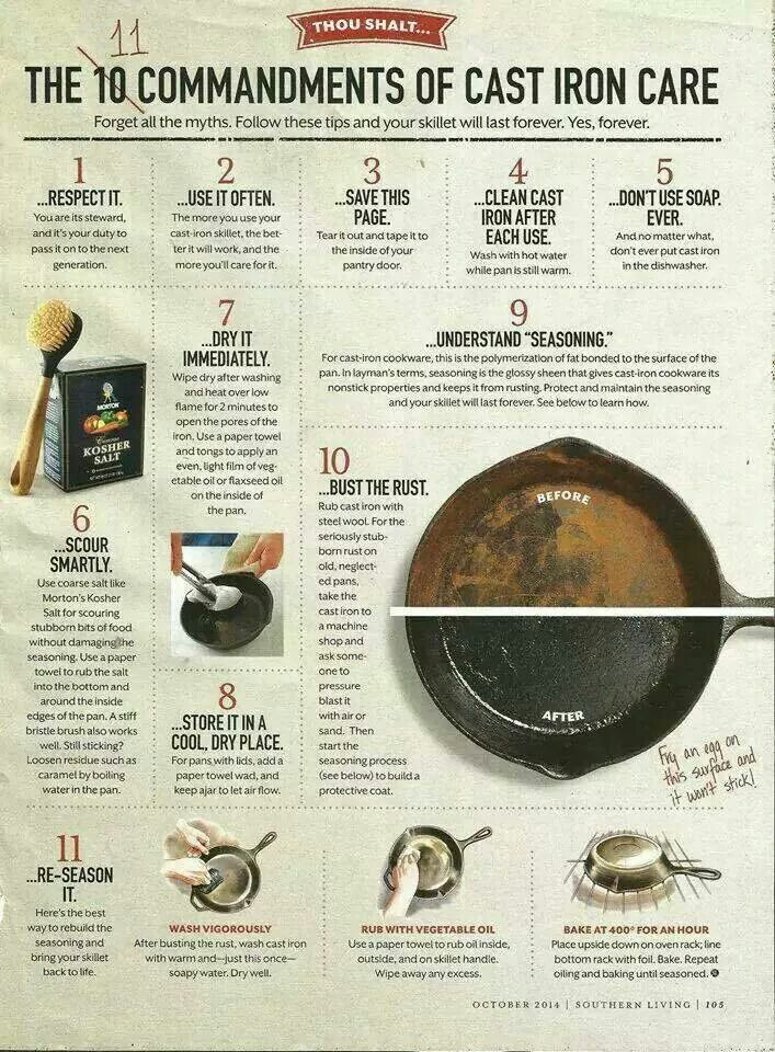 Tips for taking care of an iron skillet.