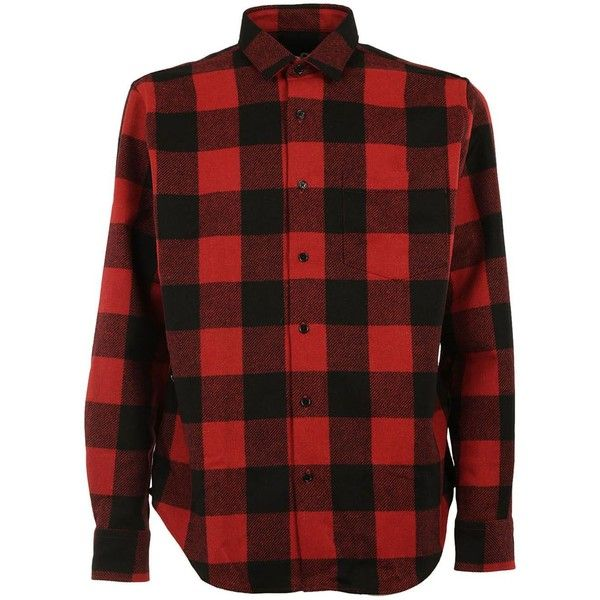 Ami Plaid Shirt (745 BRL) ❤ liked on Polyvore featuring men's fashion, men's clothing, men's shirts, men's casual shirts, menclothingshirts, mens button down collar shirts, mens long sleeve shirts, mens long sleeve plaid shirts, mens plaid button down shirts and mens red plaid shirt
