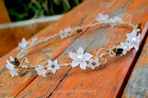 BRENDA LEE White flowers head wreath bridal garland/crown/circlet/flower girl halo/bridal crown/woodland/wedding brown white on Etsy, $52.62