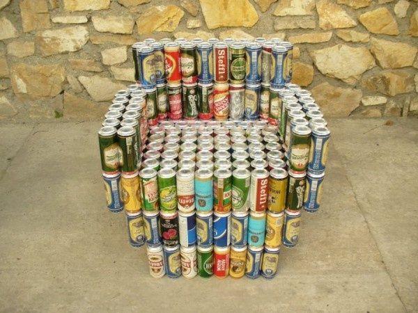 #Reducir, #Reciclar y #Reutilizar  Mobiliario reciclado con latas: Sillón hecho con latas de cerveza