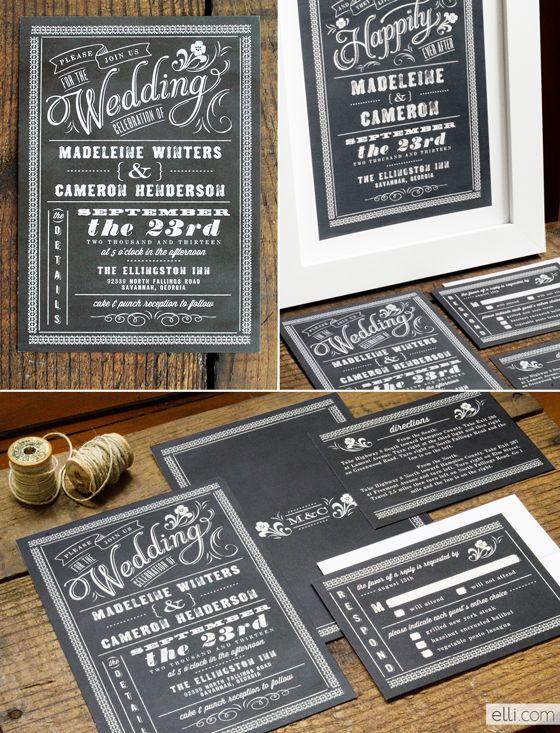 Chalkboard Wedding Invitations. like this chalkboard theme.
