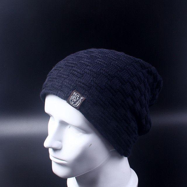 Casual Brand Men Winter Hat Beanie Hats Fur Warm Baggy Knitted Skullies Bonnet Ski Sports Adult Cap New Arrival Beanies
