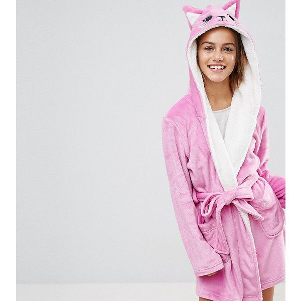 ASOS PETITE Novelty Cat Robe (488.630 IDR) ❤ liked on Polyvore featuring intimates, robes, petite, pink, hooded robes, cat bathrobe, hooded bathrobe, pink bathrobe and hooded dressing gown