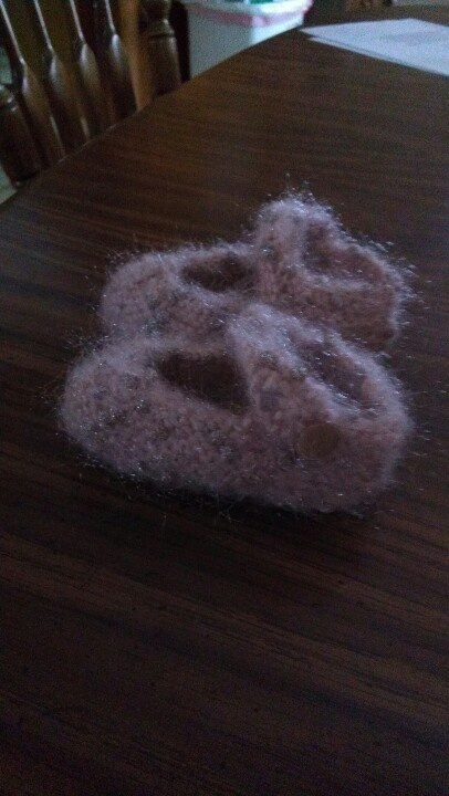 Mary Jane knit baby booties